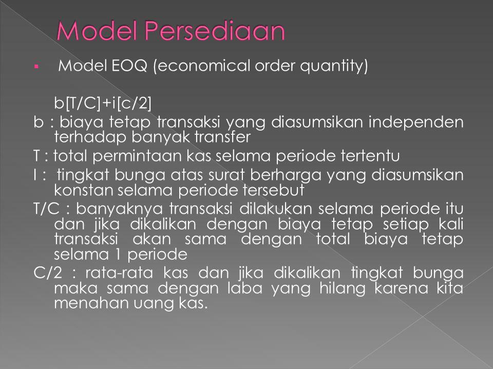 Model Persediaan Model EOQ (economical order quantity) b[T/C]+i[c/2]
